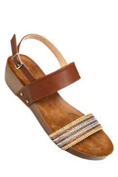 Sandale compensée rose fluo