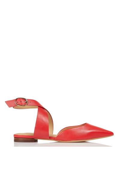 Sandale plate femme rouge