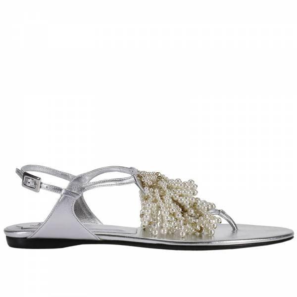 Sandale plate femme argent