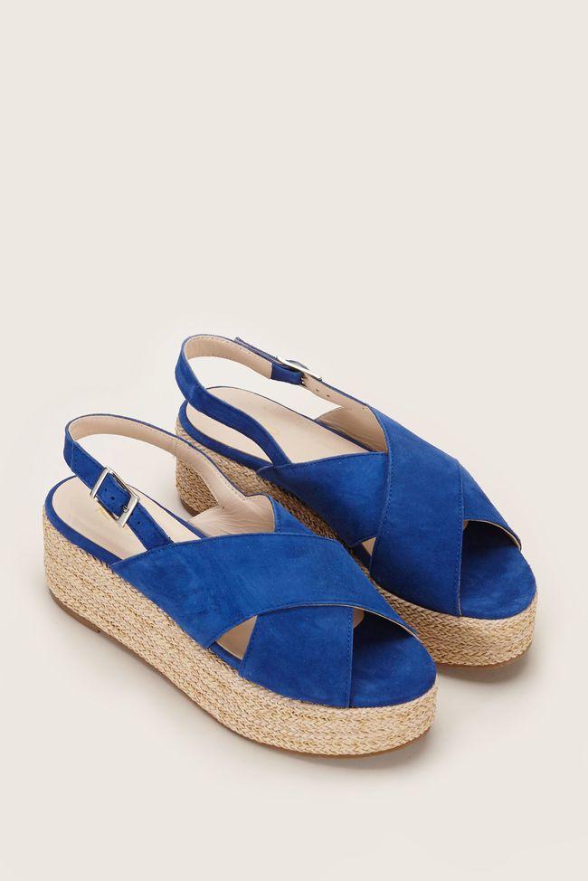 Sandale femme bleu electrique