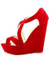 Chaussure a talon compense rouge