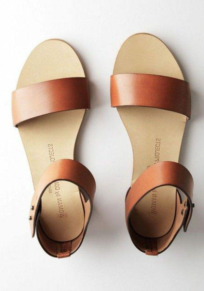 Sandale plate femme en cuir