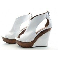 Chaussure a talon compense blanche