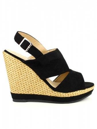 Chaussure compensée noir velour