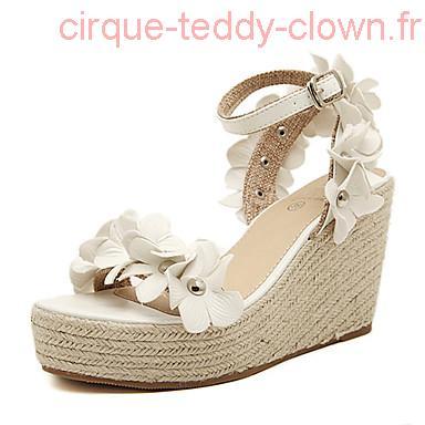 Chaussure blanche talon compensé