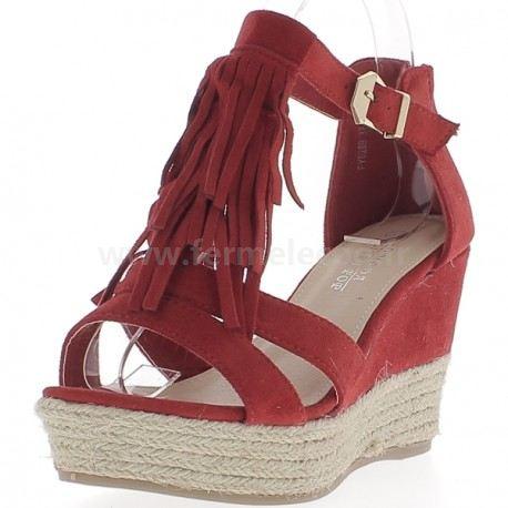 Chaussure compensée femme rouge
