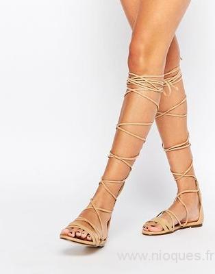 2019 original vente discount grande vente Sandale femme plate a lacet - Chaussure - lescahiersdalter