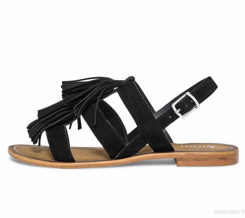 Sandale plate femme a frange
