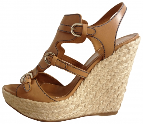 Chaussures compensees cuir camel