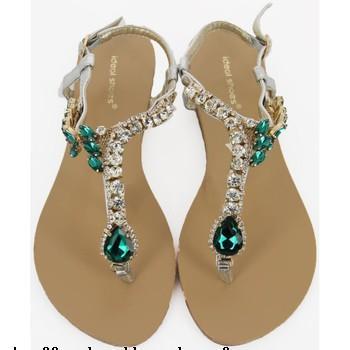 Sandale plate femme avec strass