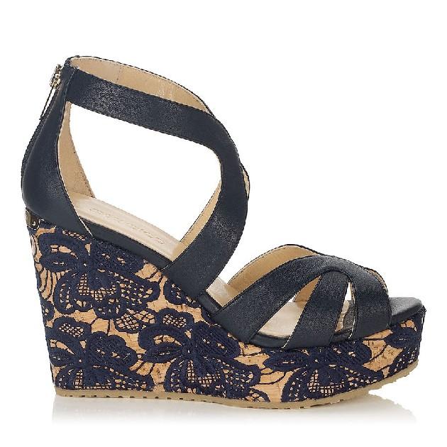 Chaussure compensée bleu