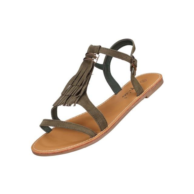 Sandale femme kaki