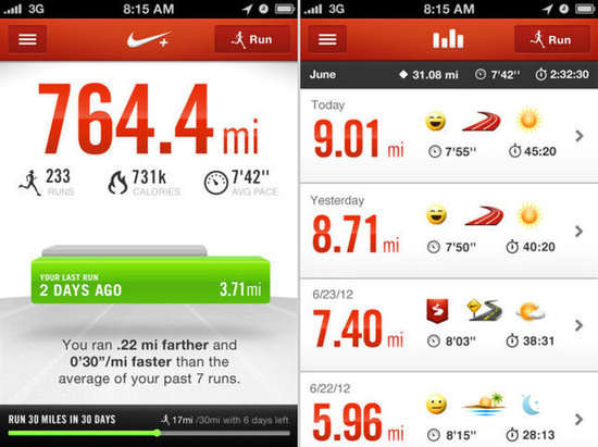 App nike+ running iphone