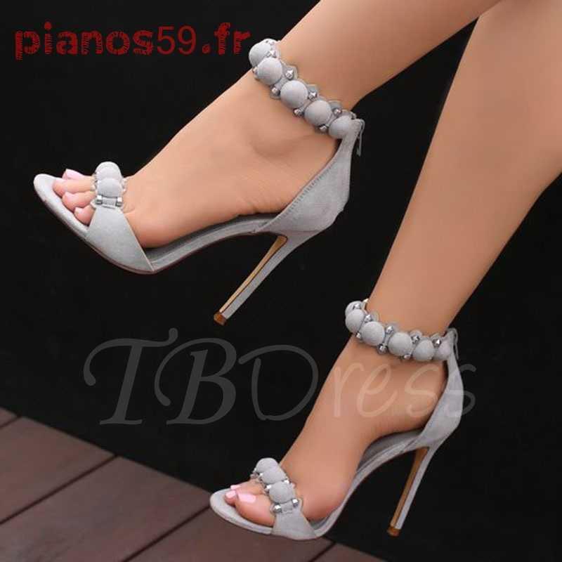 Sandale talon grise femme