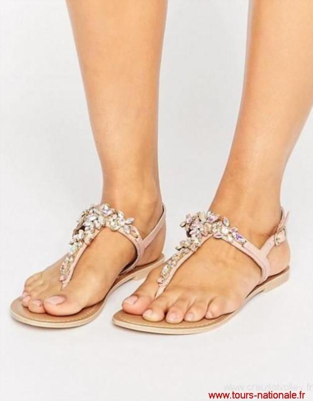 Sandale femme plate blanche