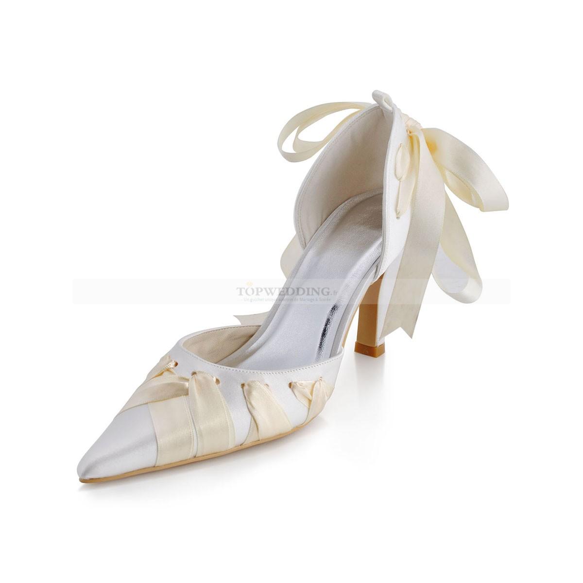 Chaussure mariee ivoire compensé