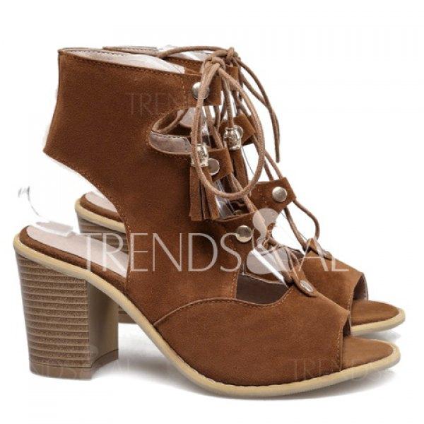 Sandale femme talon marron