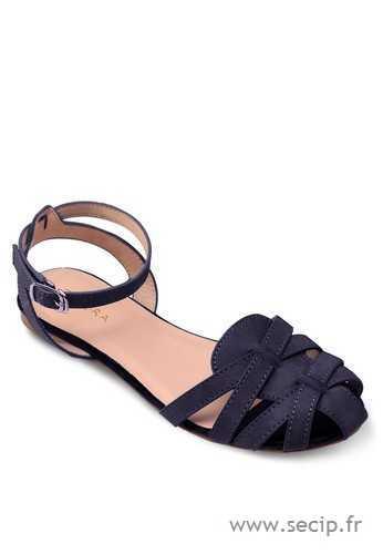Sandale femme plate bleu