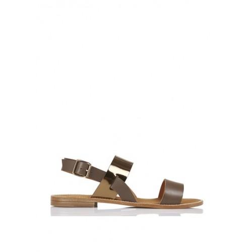 Sandales plates femme kaki