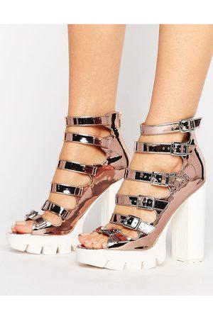 Sandale femme talon argent
