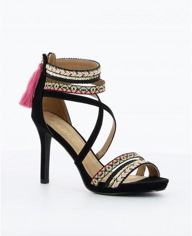 Sandale femme a frange
