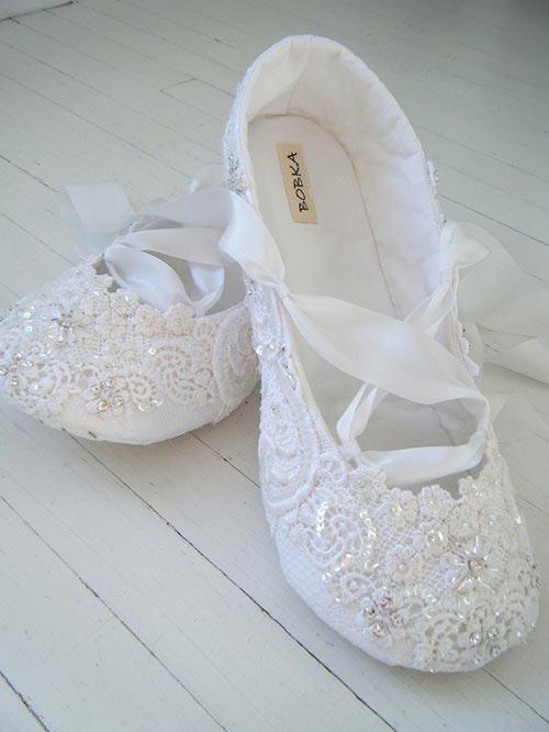Ballerine blanche mariée