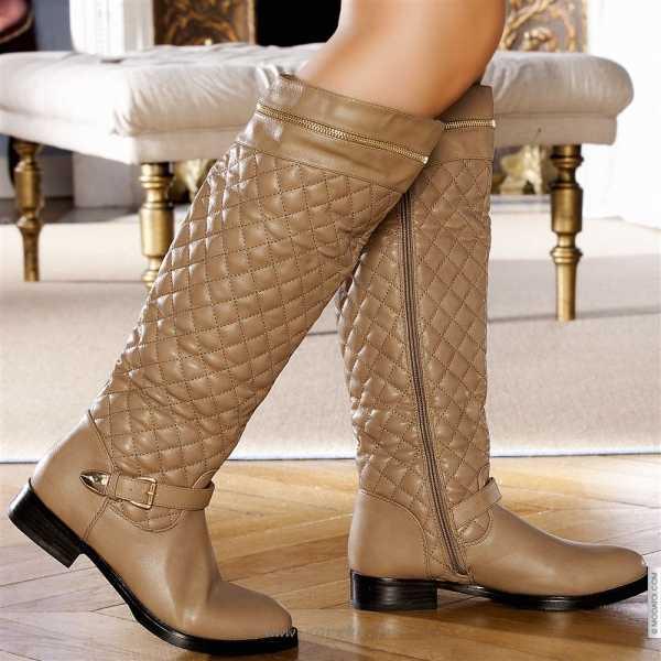 Bottes femme beige cuir