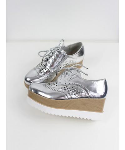 Chaussure talon compensé argenté