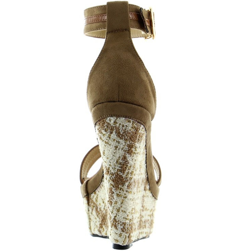 Chaussure compensee cuir marron