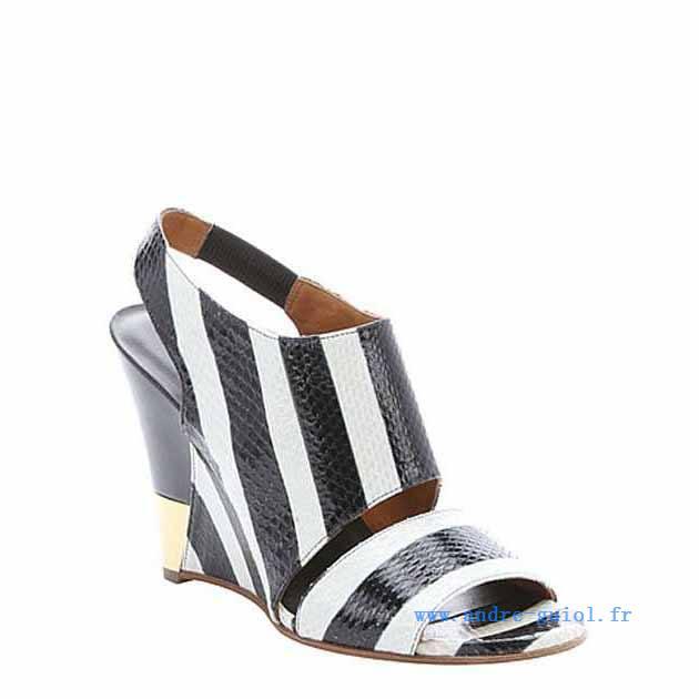 Sandale compensee noir et blanc