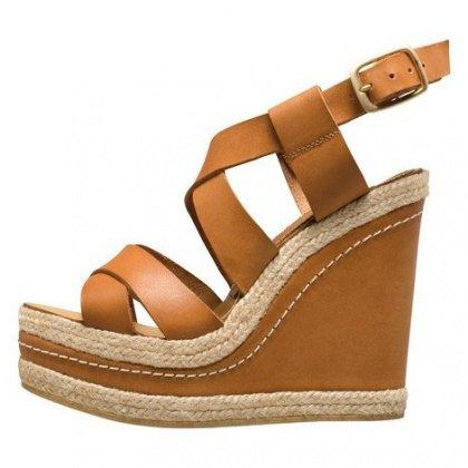 Chaussure compensée femme camel