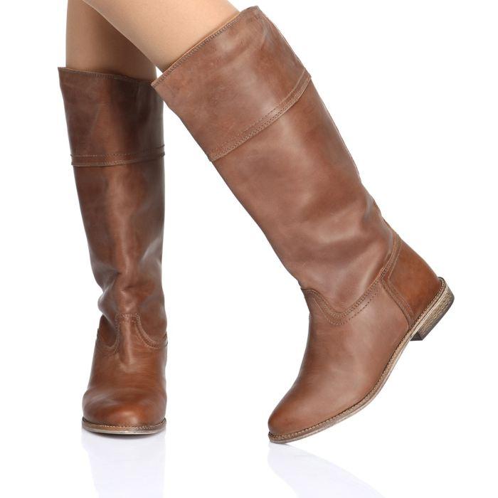 Bottes plates femme cuir marron Chaussure lescahiersdalter