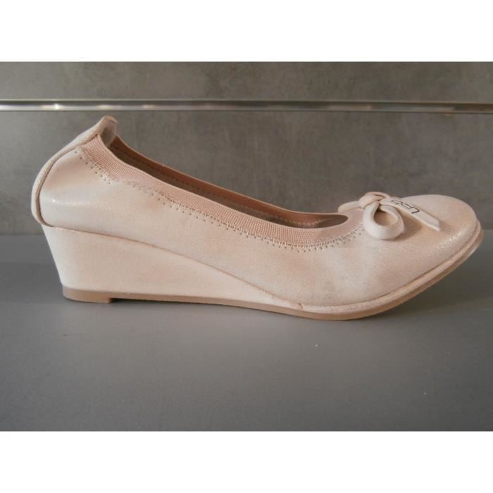 Chaussure compensee vieux rose
