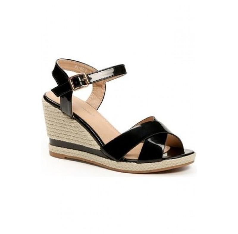 Chaussures femme compensées vernies noires