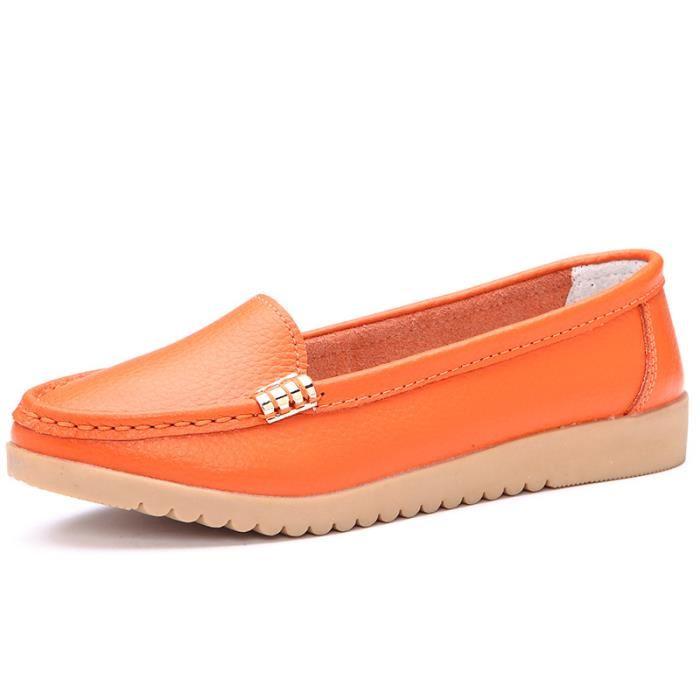 Mocassin femme cuir orange
