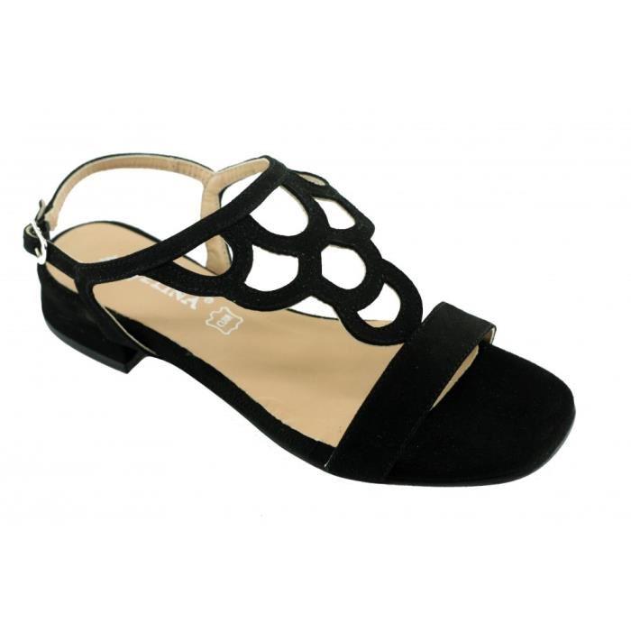 Sandale noir femme petit talon