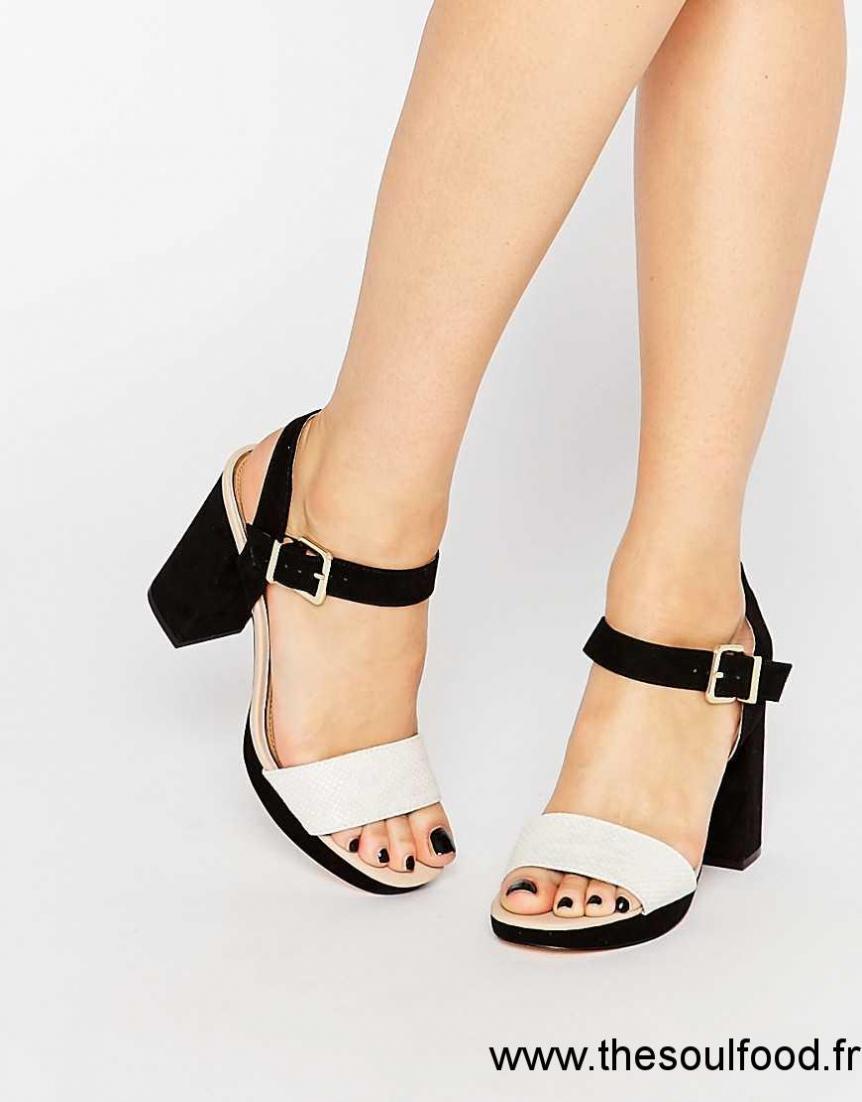 Sandale femme noir et blanc