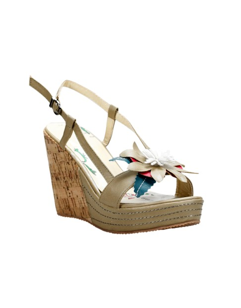 Chaussure compensée à fleur