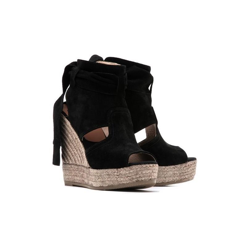 Chaussure compensée noir cuir