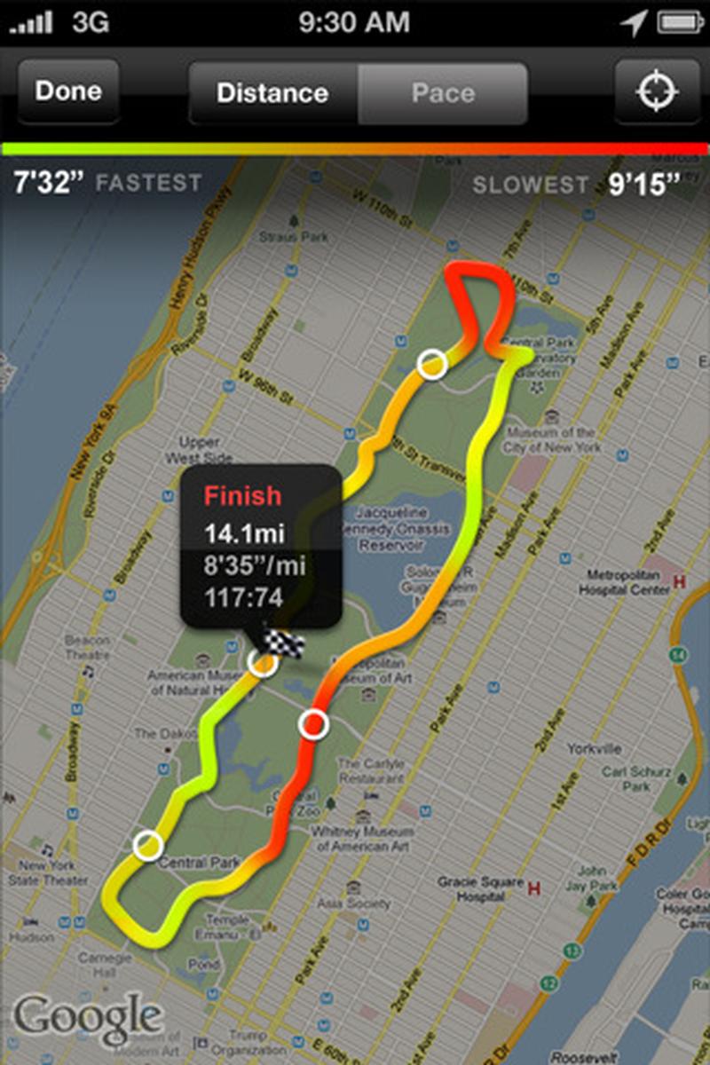 Nike running map