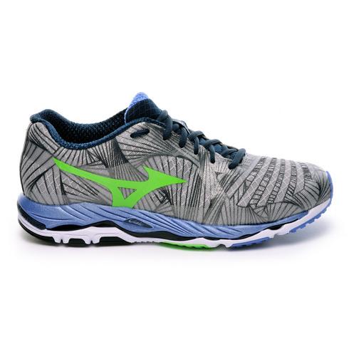 Chaussures running mizuno wave paradox homme argent/ vert fluo