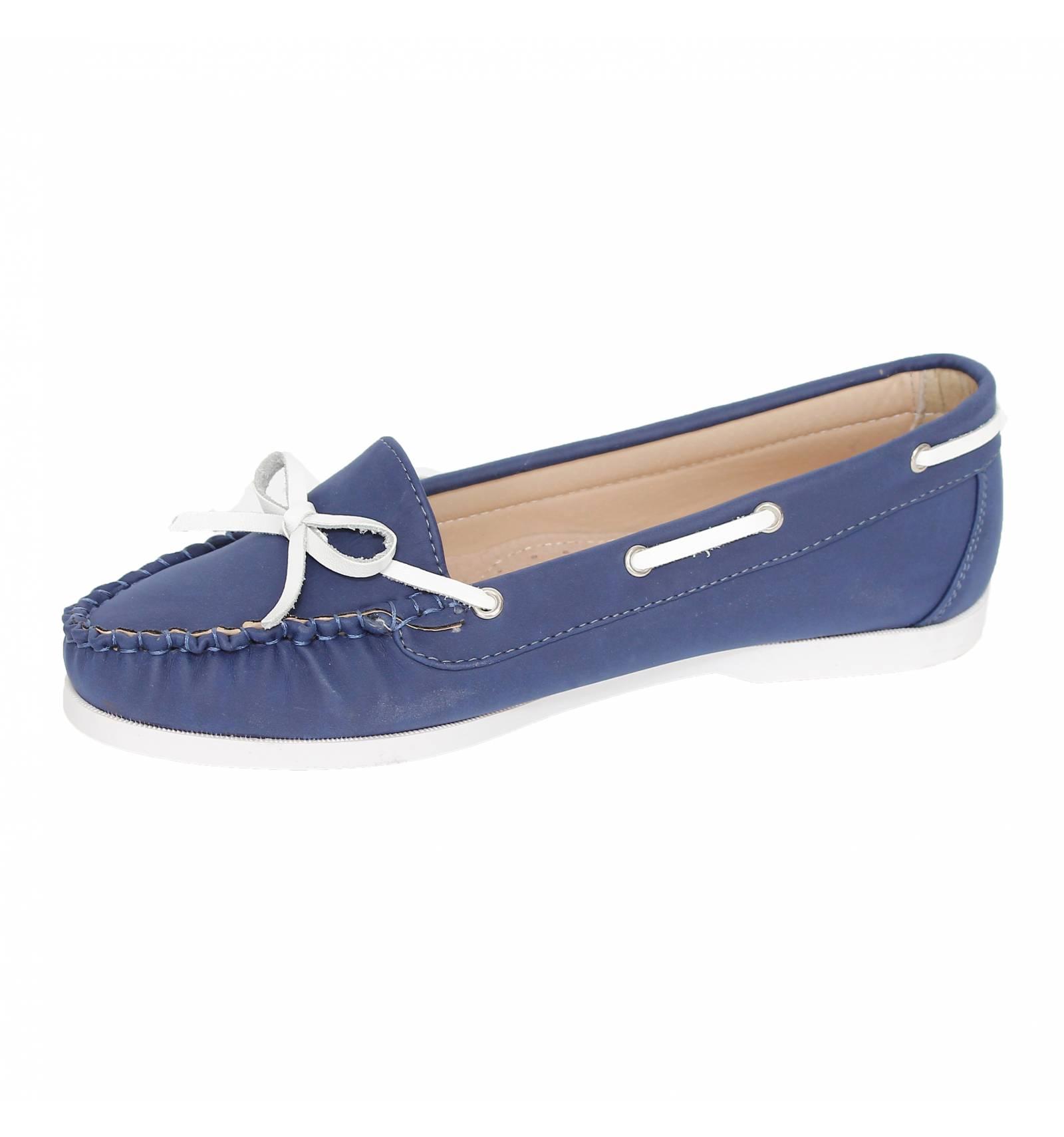 Chaussure mocassin bleu marine femme