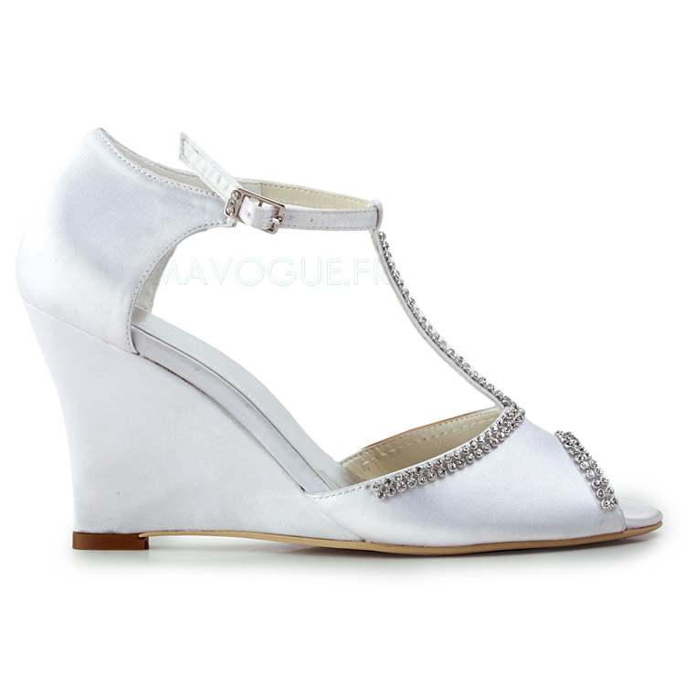 Chaussure compensee blanche mariage