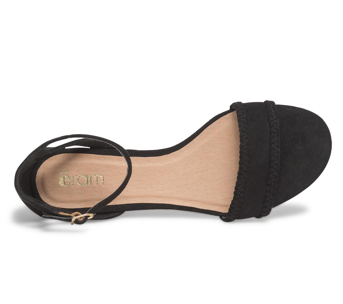 Chaussure compensée noir paille