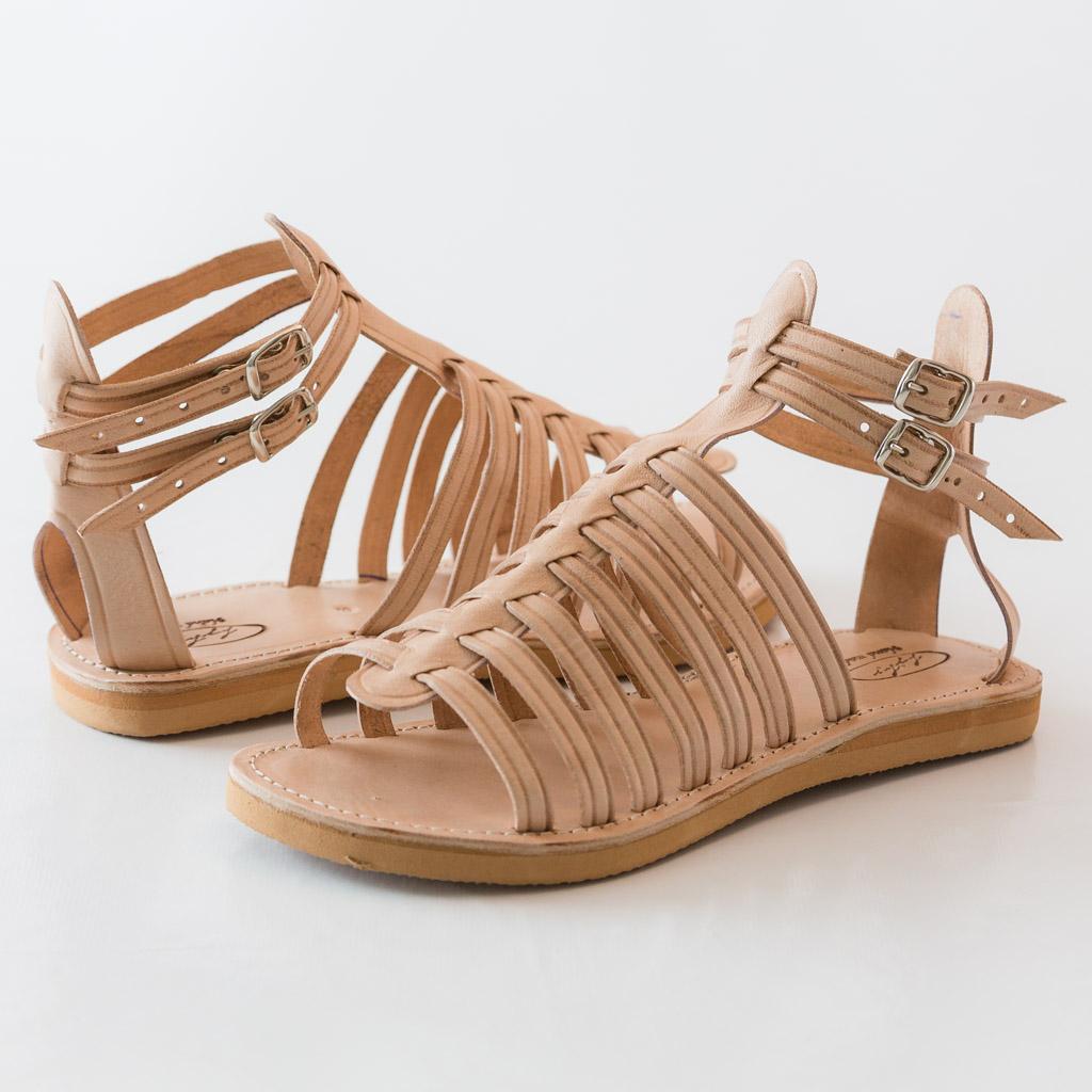 Sandale femme en cuir marron