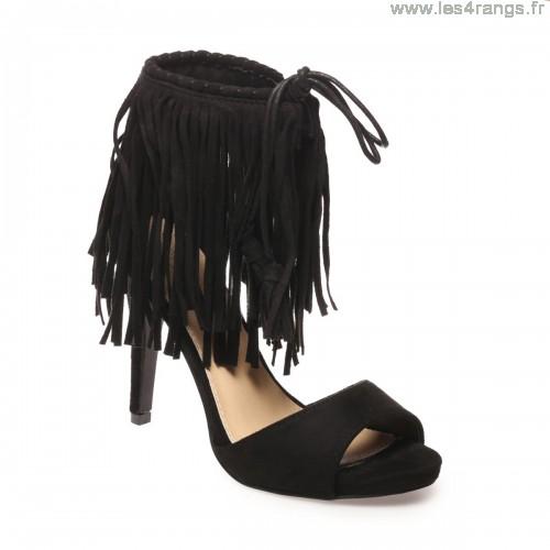 Sandale talon frange femme