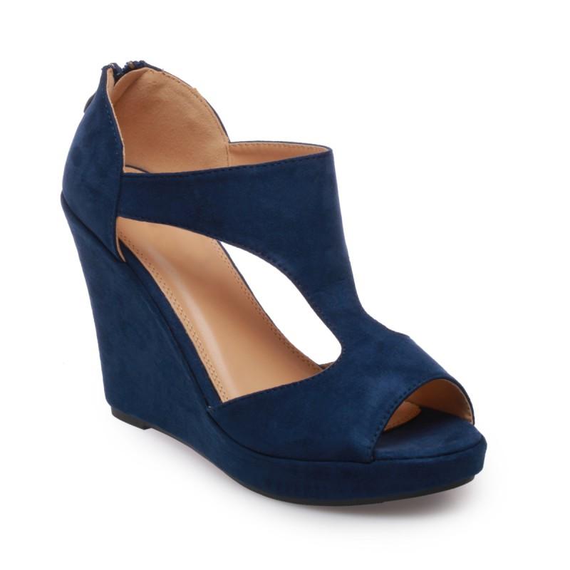 Chaussure talon compensé bleu