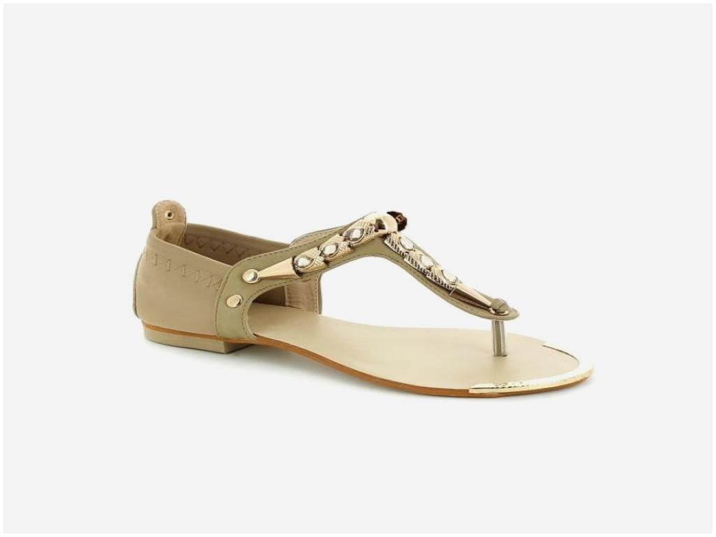 Sandales plates femme beige