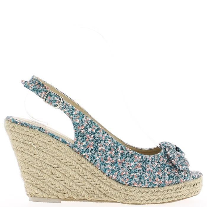 Chaussure compensée motif fleur
