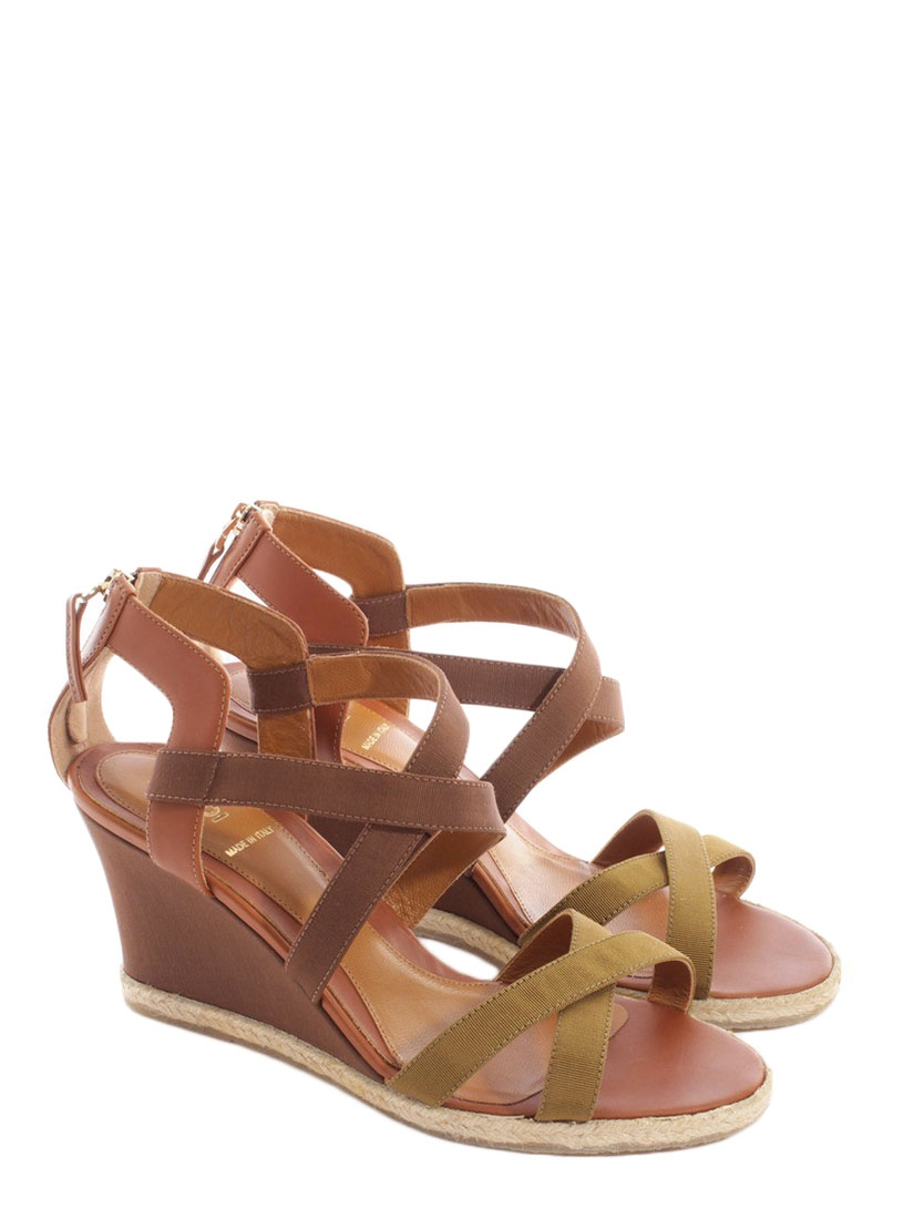 Sandale compensee cuir camel